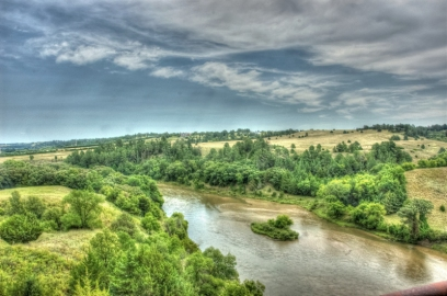 View of the River from a high trestle bridge on the trail