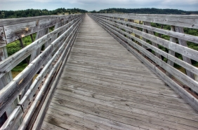 This high trestle bridge is about 200 yards over the river