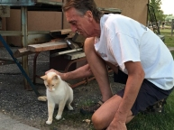 Jim got to pet Carlos, the outdoor kitty