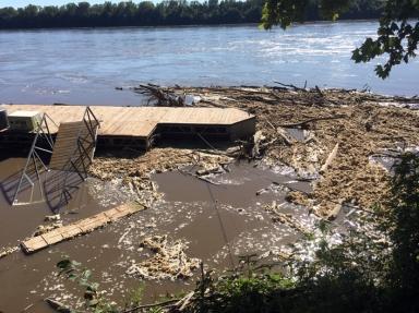 ooper's Landing. Ten inches of rain in Kansas City upstream made the river rise 10 feet!