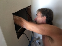 Cutting the access panel in the closet